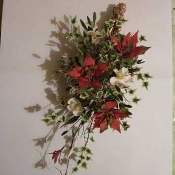 Poinsettia, Xmas Rose, Ivy, Ruscus leaves, Holly, Red berries